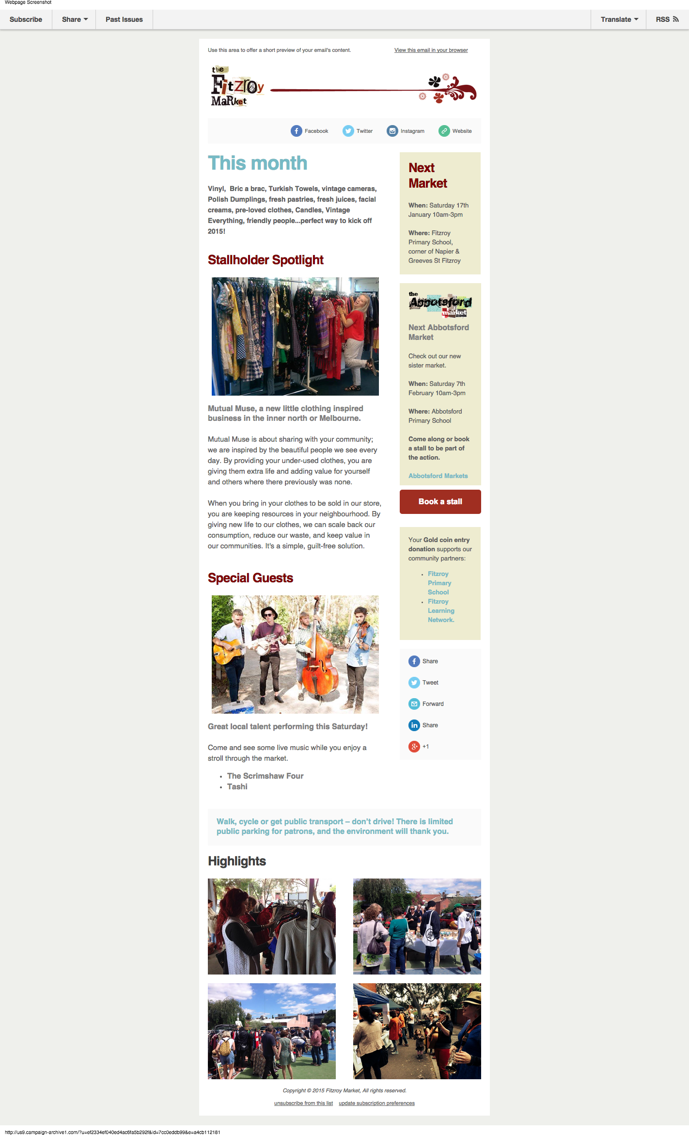Fitzroy Markets eNews Template